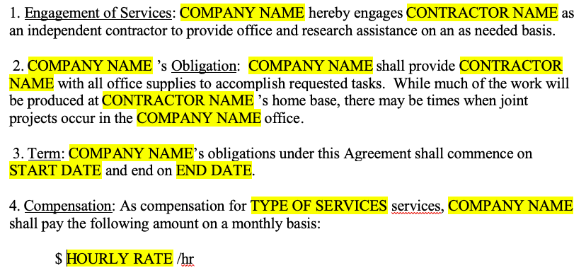 contractor agreement template BEFORE Compatibility Mode