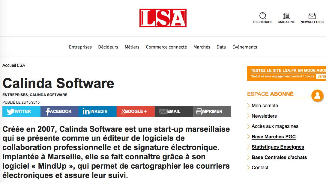 article presse LSA calindasoftware