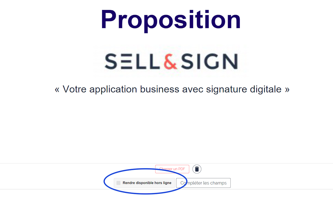 bouton hors ligne synchronisation contrats sell&sign