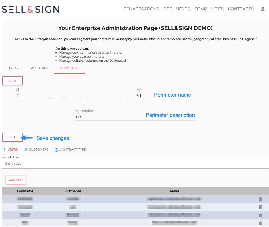 admin version enterprise sellandsign périmètre
