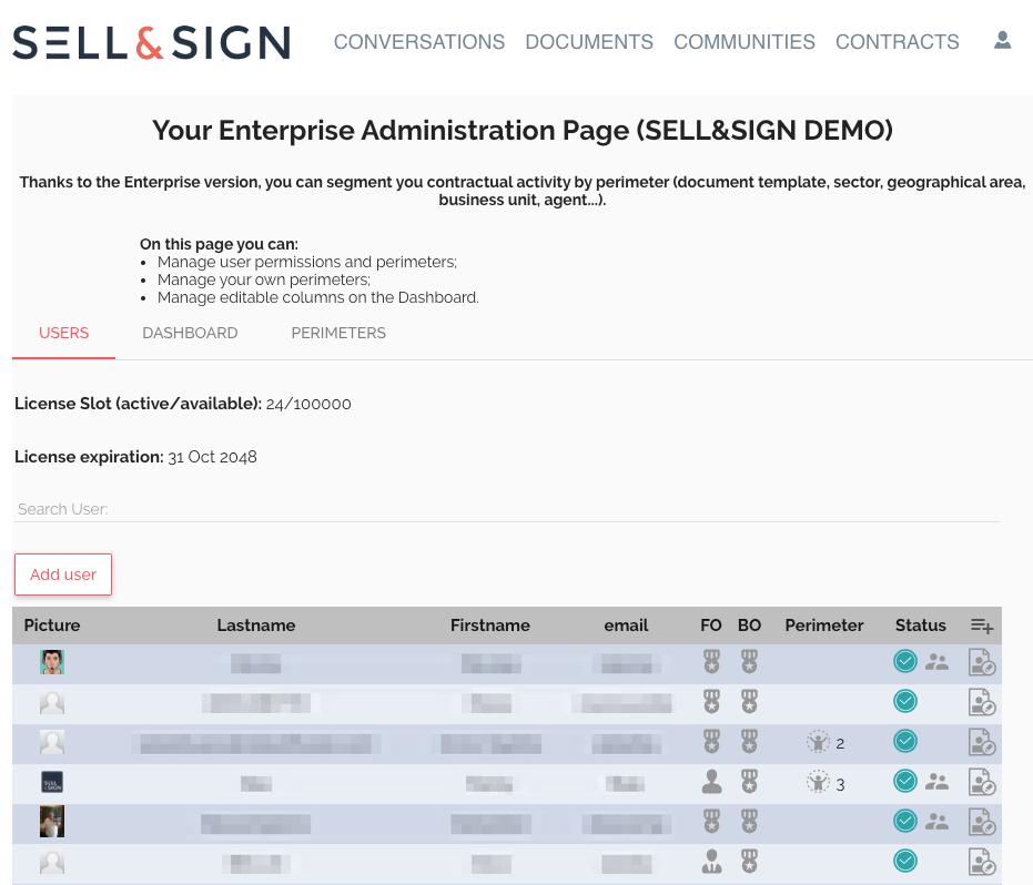 admin version enterprise sellandsign