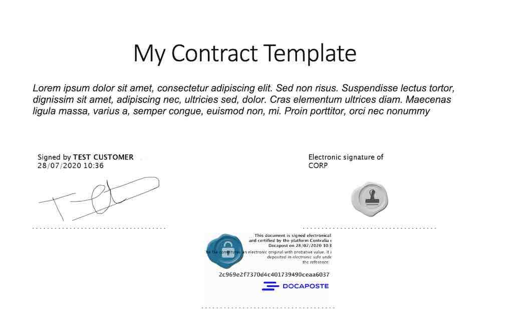 e-signature sample signed document