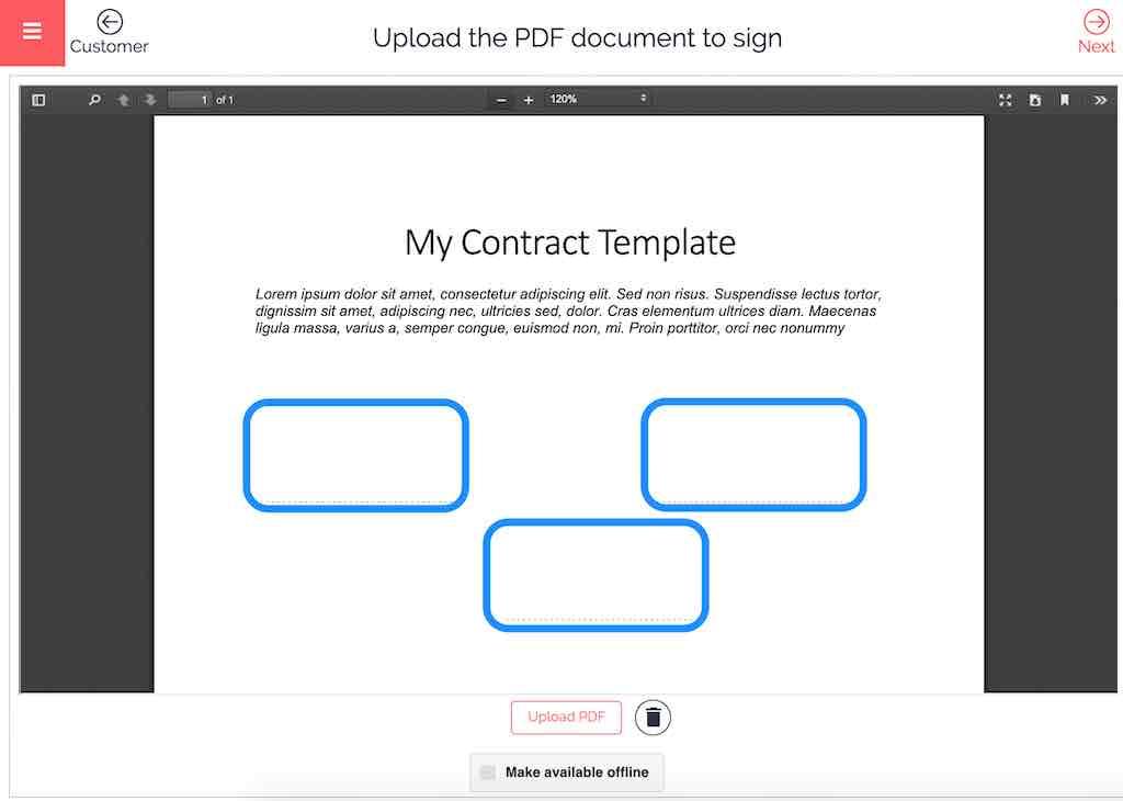 e-signature how to load document